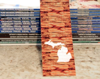 Michigan Photography Bookmark Michigan on Beach Wood
