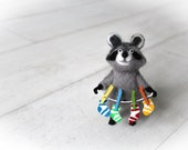 Needle Felted Wool Cute Raccoon With Color Socks, Felted Animal, Cute Raccoon, Wool Toy, Raccoon Figurine