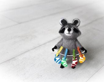 Raccoon Figurine, Needle Felted Raccoon With Color Socks, Felted Animal, Cute Raccoon, Wool Toy, Raccoon Figurine