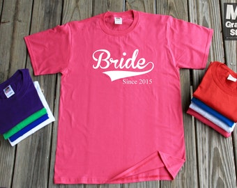 Bride Since 2015 T-Shirt Gift For Fiance New Wife Est 2015 Anniversary Gift Tee