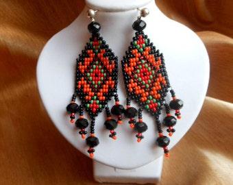 Boho earrings Beaded earrings Dangle earrings Seed bead earrings Long earrings Bright earrings Ethnic earrings Jewelry  Fringe earrings