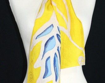 Yellow Silk Scarf. Tan & Blue Hand Painted Silk Shawl. Handmade Silk Scarf SAND FLOWERS. Size 8x54. Birthday, Mother Gift. Gift-Wrapped.
