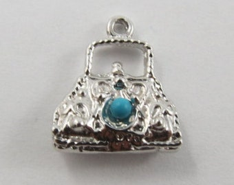 Purse With Turquoise Stone Sterling Silver Vintage Charm For Bracelet