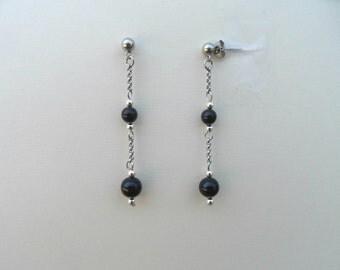 Black pearl earrings, swarovski pearls earrings, retro earrings, black earrings, mystic black earrings