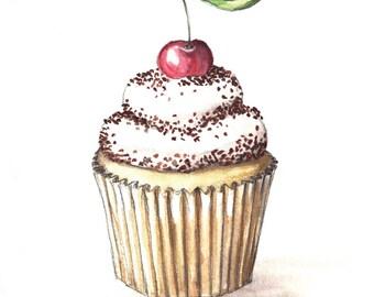 Cupcake Watercolor Print, Cupcake Art, 5x7, 8x10, 11x14, 13x19, Vanilla Cupcake with a Cherry, Kitchen Art, Cafe Art, Bakery Art, Home Decor