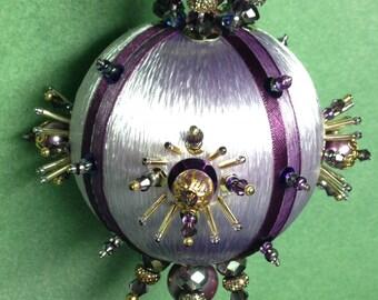 Regal Purple Satin and Crystal Ornament