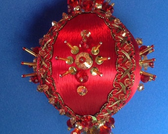Regal Red Satin and Crystal Ornament