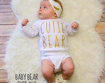 Cutie Bear - Baby Bodysuit - Kid Shirt - Gold Glitter