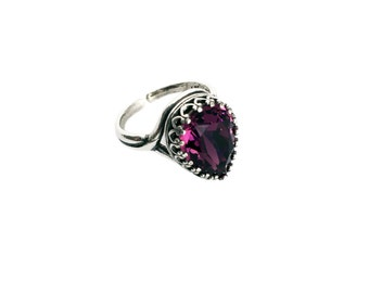 Antique Ring Jewelry Purple Wine Jewelry Ring Jewelry Tear Drop Pear shaped Burgundy Ring Birthday Gift Sterling Silver Antique Garnet Stone