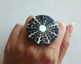 Handmade Cut-Out Shells on Resin Statement Ring