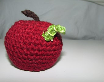 Red Delicious Apple with Worm Hand Crocheted by MommaSiedt