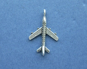 10 Airplane Charms - Airplane Pendants - Airplane - Planes - Antique Silver - 23mm x 15mm  -- (No.23-10329)
