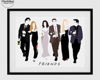 FRIENDS - Ross Geller, Rachel Green, Monica Geller, Chandler Bing, Phoebe Buffay and Joey Tribbiani - Minimalist Poster Art