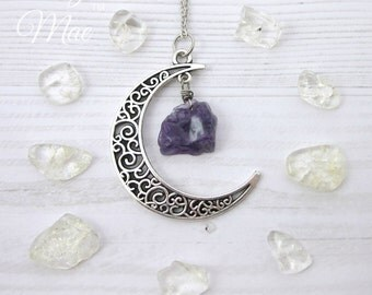 Moon and Amethyst Necklace | Wire-Wrapped Authentic Gemstone