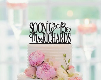 Bridal Shower Cake Topper, Soon To Be Mrs, Custom Last Name, Engagement Cake Topper, Personalized Cake Topper, 004