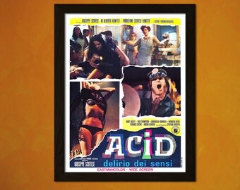 Acid Eaters 1968 Italian - Vintage Movie Print  Wall Decor Wall Art Kitsch Poster LSD Old Movie Print Theater Decor Retro Movie Poster
