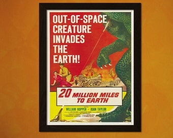 20 Million Miles to Earth Movie Poster Print- Vintage Movie Print Gift Idea Kitsch Poster Old Movie Print Theater Decor BUY 2 GET 1 FREE