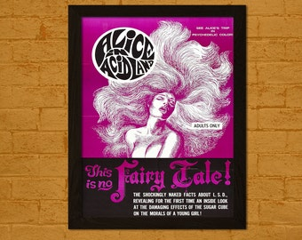 Alice in Acidland 1969 Movie Print- Vintage Movie Poster Gift Idea Kitsch Poster Old Movie Print Theater Decor Lsd Poster BUY 2 GET 1 FREE