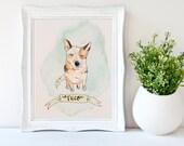 1 Pet Portrait Custom Illustration, Handmade, Watercolor and Ink