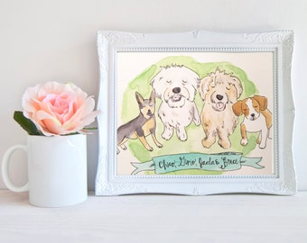 Custom Pet Illustration, Custom Dog Painting, Handmade Custom Watercolor, Custom Pet Painting, Custom Dog Drawing, Gift for Dog Mom (4 Pets)