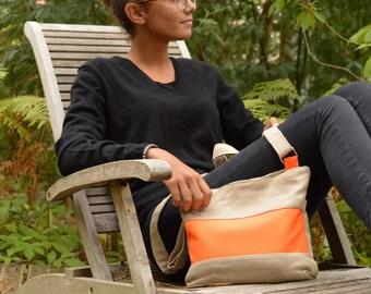 Cross body bag Cherie.Sac bandouliere Lin.Linen day bag.Linen daybag.Linen orange stripe crossbody.summer daybag.natural linen travel bag