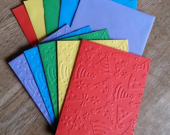 Set of 5 Embossed Rainbow Coloured Blank Cards with Matching Envelopes (4 different designs available) Birthday/Invitations/Thank You Cards.