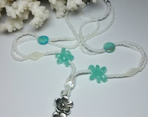 """Silver Flower Pendant & Seed Bead Necklace, 17 1/4"""" , Beach Jewellery , Seed Bead Necklace"""