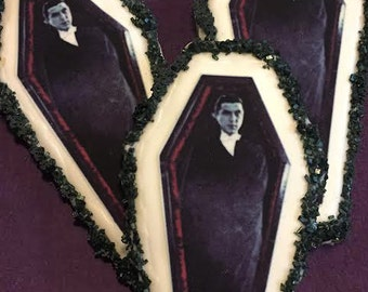 Edible Dracula Coffin Halloween Cookie Toppers - Frosting Sheet, Uncut