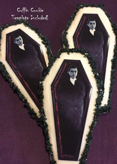 Edible dracula coffin halloween cookie toppers frosting for Coffin cake template