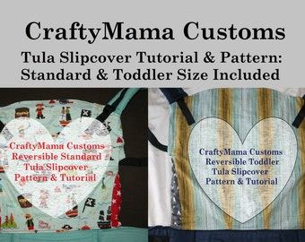 STANDARD AND TODDLER size Tula Slipcover Printable Patterns & Tutorials- with leg panels, hood access instructions and seat darts