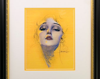 Framed  Rolf Armstrong pin-up Reprint  Black w/Gold Lip Scoop Frame 16 3/8 x 18 3/8""