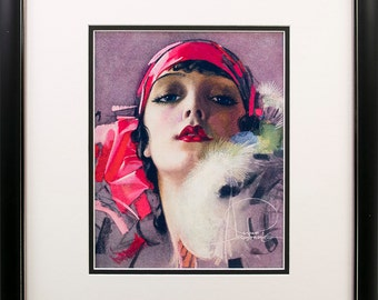 Framed  Rolf Armstrong pin-up Reprint  Black w/Silver Lip Frame 15 5/8 x 17 5/8""