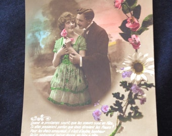 Old Postcard French lovers