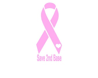 Save 2nd Base Breast Cancer Decal