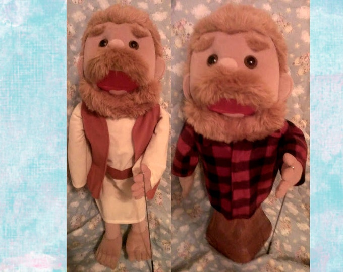 Bible Character Puppet and Mountain Man Lumberjack Puppet - Large Full or Half Body Arm Rod Puppet for Professional Puppetry