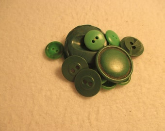 Set of 15 Vintage Green Buttons
