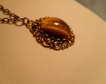 Sarah Cov. Vintage Tiger's Eye Necklace- Signed SARAH COV. CANADA