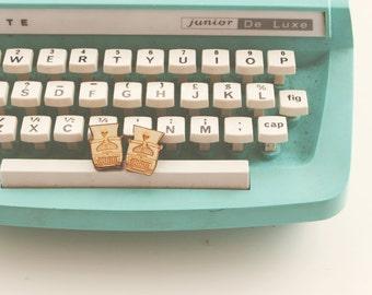 Wooden typewriter earrings 'type away'