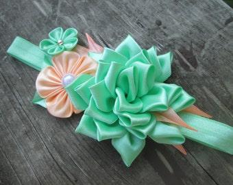 baby headband, flower baby headband, kanzashi flower,mint peach baby headband
