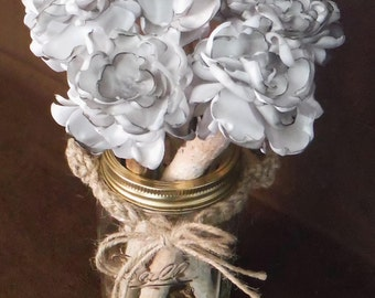 Shabby Chic Wedding Flowers/Rustic Shabby Chic Centerpiece/White Birch Shabby Chic Centerpiece/5 Piece Set/Shipping Included:Item# BFS-2143