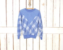Vintage blue/white checkered  woven knit pullover sweatshirt/slouchy jumper/elbow patch pullover sweater
