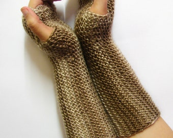 Long fingerless gloves, cappuccino shades, texting mittens, seamless soft armwarmers, light brown driving gloves