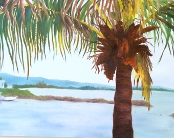 Original Caribbean Palm Tree Oil Painting on Canvas - Hand Painted - Ready to Hang
