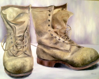 Original Soldier Boot Oil Painting on Canvas - Hand Painted - Ready to Hang