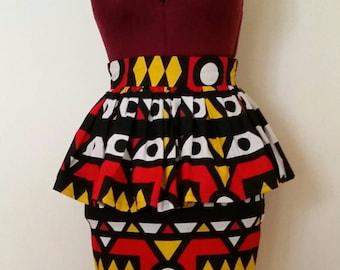 Tendi African Print Peplum Skirt
