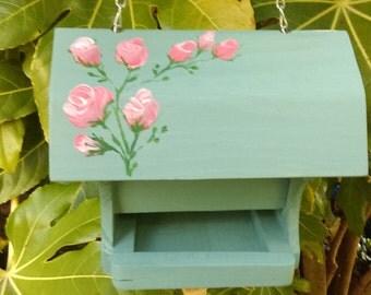 Hand Painted Wooden Bird Feeder with Pink Rose Flower Design