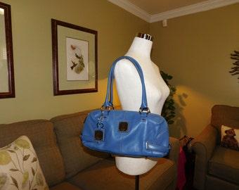 TIGNANELLO~Blue Leather Satchel Handbag