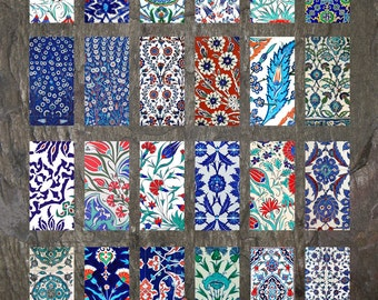 "Domino Clip Art, Iznik Tiles, Digital Collage Sheet, Turkish Iznik, Jewelry Making, 1""x2"" Crafts, Digital Downloads, domino tiles"