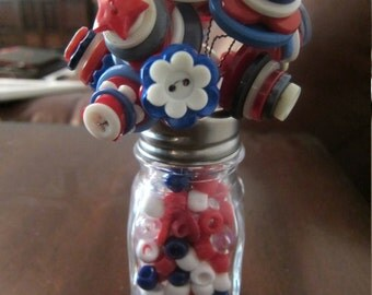 "Red White and Blue Button ""Flower"" Arrangement 2"