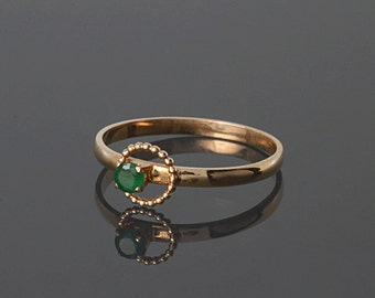 Emerald ring, Gold emerald ring, Solitaire ring, May birthstone, Birthstone ring, Gemstone ring, Green stone ring, Rose gold ring